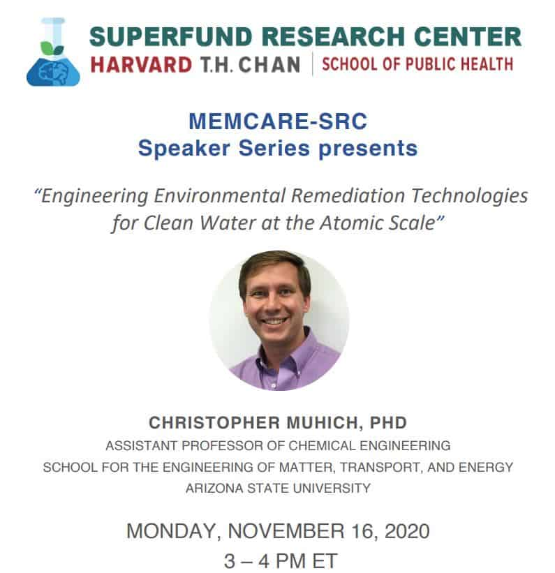 Engineering Environmental Remediation Technologies for Clean Water at Atomic Scale | Nov. 16 3-4pmEST